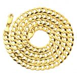 """14K Yellow Gold 7mm Plain Solid Curb Cuban Necklace W/ Lobster Lock ( 18"""" to 30"""")"""