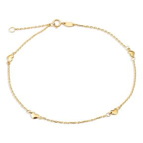 "LOVEBLING 10K Yellow Gold .50mm Diamond Cut Rolo Chain with 4 Heart Pendants Anklet Adjustable 9"" to 10"" (#16)"