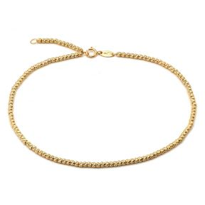 "10K Yellow Gold 2mm Diamond Cut Moon Chain Anklet Adjustable 9"" to 10"" (#1)"