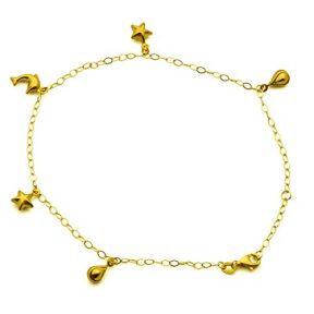 10K Yellow Gold 2mm Diamond Cut Rolo Chain with 5 charm Anklet (#36)