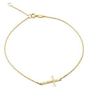 LOVEBLING 10K Yellow Gold .5mm Rolo Chain with Diamond Cut Cross Charm Anklet (#46)