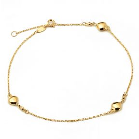 """10K Yellow Gold .50mm Diamond Cut Rolo Chain with 3 Puff Heart Pendants Anklet Adjustable 9"""" to 10"""" (#4)"""