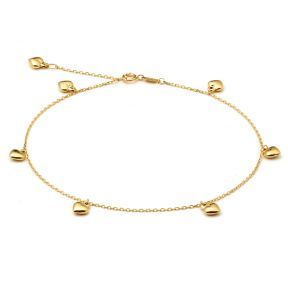 """10K Yellow Gold .50mm Diamond Cut Rolo Chain with 7 Puff Heart pendants Anklet Adjustable 9"""" to 10"""" (#6)"""