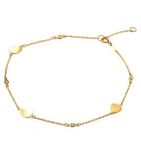 """10K Yellow Gold .5mm 4 CZ Stones and 3 Heart Charm Anklet Adjustible 9"""" - 10"""" (#73)"""