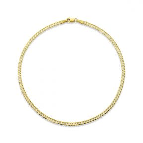 "10k Yellow Gold 2.5mm Solid Curb Cuban Link Chain Anklet with Lobster Lock (10"")"