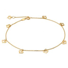 "10K Yellow Gold .50mm Diamond Cut Rolo Chain with 8 Heart pendants Anklet Adjustable 9"" to 10"" (#12)"