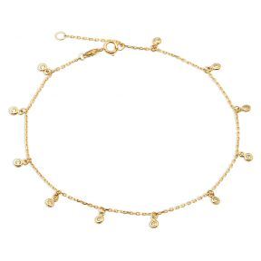 """10K Yellow Gold .50mm Diamond Cut Rolo Chain with 11 CZ Stone pendants Anklet Adjustable 9"""" to 10"""" (#17)"""