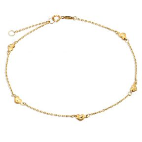 10K Yellow Gold .50mm Diamond Cut Rolo Chain with 5 Diamond Cut Heart pendants Anklet  (#18)