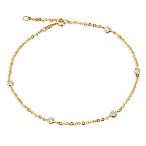"""10K Yellow Gold 1.8mm Diamond Cut Rolo Chain with 5 CZ Stone Pendants Anklet Adjustable 9"""" to 10"""" (#19)"""