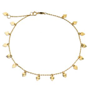 """10K Yellow Gold .50mm Diamond Cut Rolo Chain with 15 Diamond Cut Heart Pendants Anklet Adjustable 9"""" to 10"""" (#20)"""