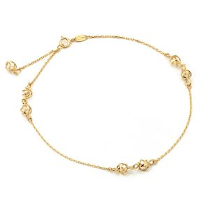 """10K Yellow Gold .50mm Diamond Cut Rolo Chain with 3 Designer pendants Anklet Adjustable 9"""" to 10"""" (#22)"""