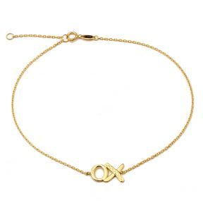 "10K Yellow Gold .50mm Diamond Cut Rolo Chain with ""XO"" Charm Anklet (#23)"