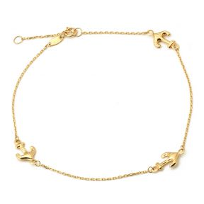 "10K Yellow Gold .50mm Diamond Cut Rolo Chain with 3 Anchor pendants Anklet Adjustable 9"" to 10"" (#25)"