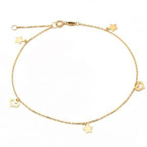 "10K Yellow Gold .50mm Diamond Cut Rolo Chain with Star and Heart pendants Anklet Adjustable 9"" to 10"" (#26)"