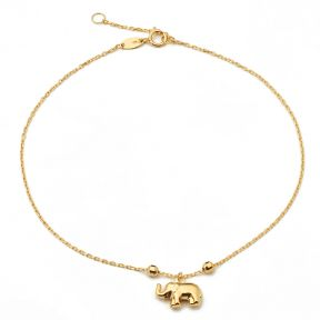 "10K Yellow Gold .50mm Diamond Cut Rolo Chain with Elephant Charm Anklet Adjustable 9"" to 10"" (#27)"