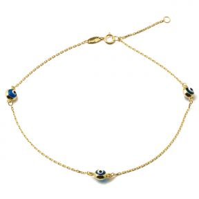 "10K Yellow Gold .5mm Rolo Chain with Evil Eye Charms Anklet Adjustable 9"" to 10"" (#45)"