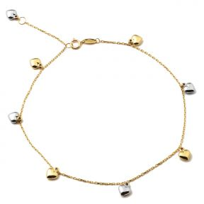 10K Yellow Gold .5mm Rolo Chain with Two Toned Puffy Heart Charms Anklet (#47)