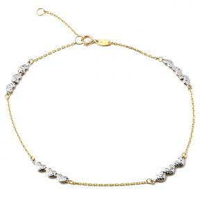 """10K Yellow Gold .5mm Rolo Chain with 3 White Gold Diamond Cut Heart Charms Anklet Adjustable 9"""" to 10"""" (#49)"""