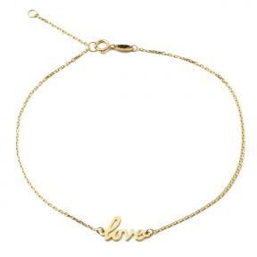 """10K Yellow Gold .5mm Rolo Chain with """"Love"""" Charm Anklet Adjustable 9"""" to 10"""" (#50)"""