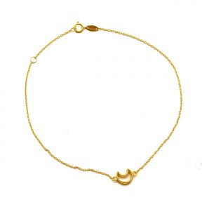 "10K Yellow Gold .50mm Diamond Cut Rolo Chain with a Cressent Moon Anklet Adjustable 9"" to 10"" (#53)"