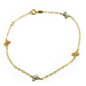 """10K Yellow Gold 2mm Diamond Cut Rolo Chain with 4 Geometric Butterfly Charm Anklet Adjustable 9"""" to 10"""" (#55)"""