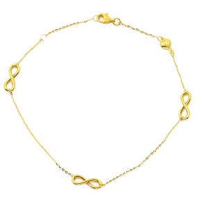 "10K Yellow Gold .5mm Diamond Cut Rolo Chain with a Tri Infinity Symbol & Heart Charm Anklet Adjustable 9"" to 10"" (#58)"
