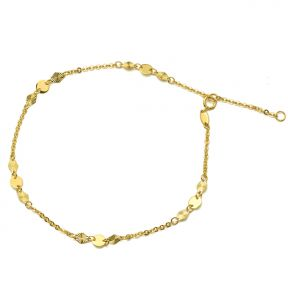 """10K Yellow Gold .5mm Diamond Cut Rolo Chain with Diamond & Circle Charm Anklet Adjustable_9"""" to 10"""" (#62)"""