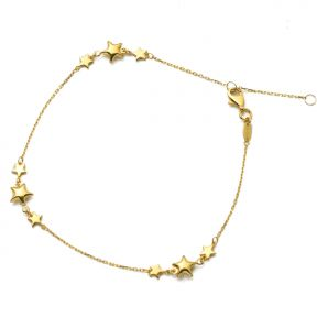 """10K Yellow Gold .5mm Diamond Cut Rolo Chain with Tri-Star Row Charm Anklet Adjustable_9"""" to 10"""" (#63)"""