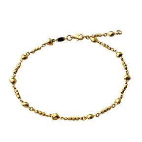 "10K Yellow Gold .5mm Diamond Cut Beads and 11 Heart Charm Anklet Adjustable 9"" - 10"" (#65)"