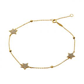 """10K Yellow Gold .5mm Diamond Cut Beads and 3 CZ Stars Charm Anklet Adjustible 9"""" - 10"""" (#66)"""