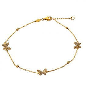 Butterfly CZ Charm Anklet Chain Real 10K Yellow Gold 10