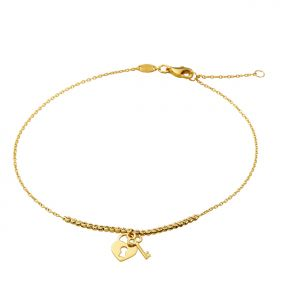 """10K Yellow Gold .5mm Diamond Cut Beads and Heart Lock & Key Charm Anklet Adjustable 9"""" - 10"""" (#71)"""