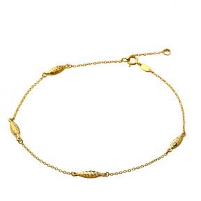 "10K Yellow Gold .5mm 4 Diamond Cut Tube Beads Charm Anklet Adjustible 9"" - 10"" (#72)"
