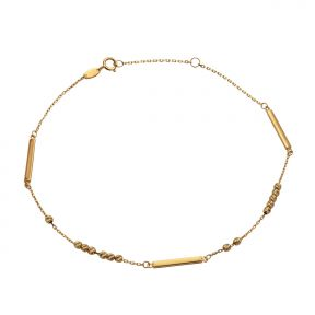 """10k .5mm Gold Beads & Long Bar Charm Anklet Adjustable from 9"""" to 10"""" (#76)"""