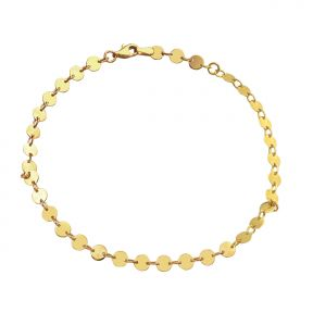 "10k .50mm 33 Circle Charm Anklet Adjustable from 9"" to 10"" (#81)"