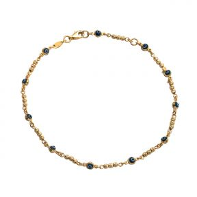 "10k .5mm 11 Evil eye stones  w/ Gold Beads Charm Anklet Adjustable from 9"" to 10"" (#82)"