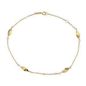"10k Yellow Gold .5mm Rolo Chain 4 Gemetric Leaf Charm Anklet Adjustable from 9"" to 10"" (#85)"