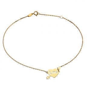 "10k Yellow Gold .5mm Rolo Chain Heart & Arrow Love Charm Anklet Adjustable from 9"" to 10"" (#87)"
