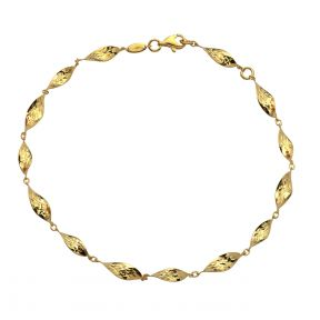 """10k Yellow Gold 15 Geometric Waterdrop Shaped Charm Anklet Adjustable from 9"""" to 10"""" (#88)"""