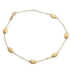 10k Yellow Gold .50mm Rolo Chain 6 Geometric Bead Shaped Charm Anklet (#90)