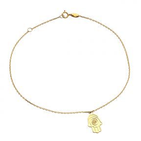 10k Yellow Gold .5mm Rolo Chain High-Polished Hamsa Charm Anklet (#91)