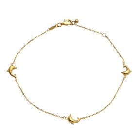 10k Yellow Gold .5mm Rolo Chain 3 High-Polished Dolphin Charm Anklet (#92)