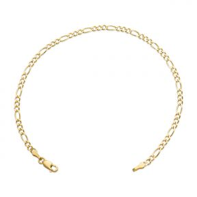 10k yellow gold solid figaro bracelet