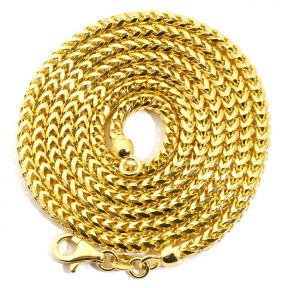 """10K Yellow Gold 2.8mm Solid Diamond Cut Franco Chain Necklace with Lobster Lock (18"""" to 30"""")"""