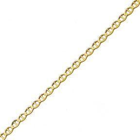 LoveBling 10K Yellow Gold 6.5mm Solid Mariner Chain Necklace with Lobster Lock