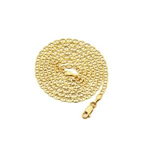 """10k Yellow Gold 3mm Solid Mariner Chain Necklace with Lobster Lock (Available 16"""" - 30"""")"""