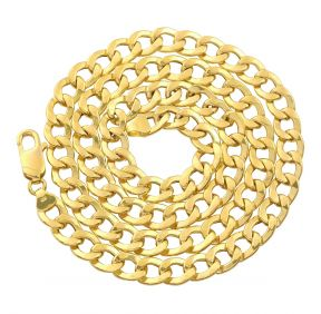 10K Yellow Gold 7.5mm Hollow Curb Cuban Chain Necklace (Available from 22 - 28 inches)