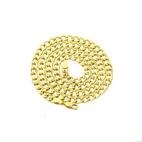 10K Yellow Gold 5.5mm Hollow Curb Cuban Chain Necklace