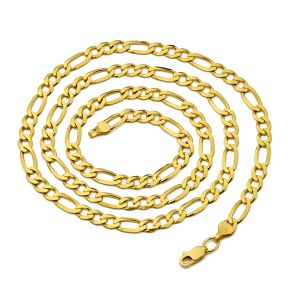 10K Yellow Gold 5mm Figaro Chain Necklace, Available in 22 to 30 inch