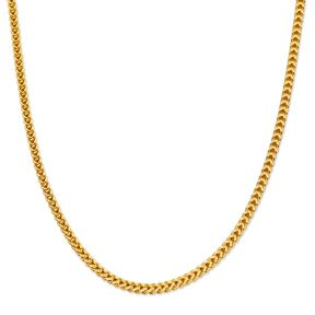 10K Yellow Gold 4mm Plain Hollow Franco Chain Necklace with Lobster Lock